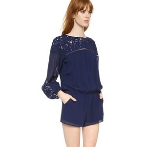 Joie long sleeve navy lace romper size small